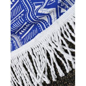 Round Geometric Fringe Beach Throw -