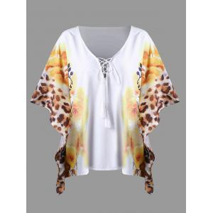 Plus Size Floral Butterfly Sleeve Top - White - 4xl
