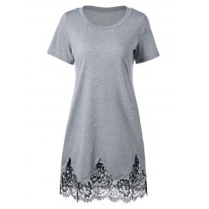 Lace Hem Scalloped Edge Tee Dress