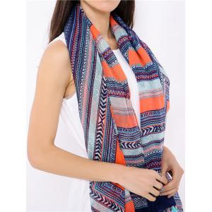 Boho Geometric Pattern Wrap Scarf with Tassels - Blue