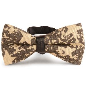 Stars Printed Denim Layered Bow Tie - Yellow - L