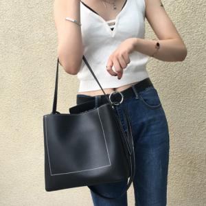 Stitching Faux Leather Shoulder Bag -