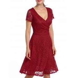 Lace High Waist Surplice Cocktail Dress - RED XL