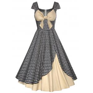 Vintage Contrast Panel Plaid Bowknot Design Dress