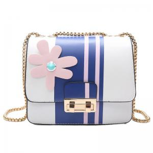 Chain Flower Color Block Crossbody Bag - Blue - 6xl