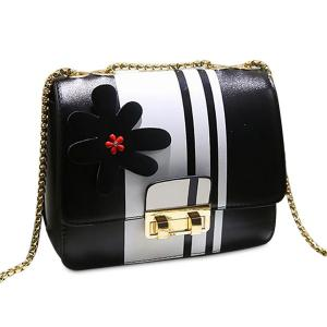 Chain Flower Color Block Crossbody Bag - Black - M