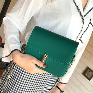 Push Lock Chain Cross Body Bag - GREEN