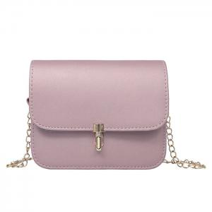 Push Lock Chain Cross Body Bag - Pink - Xl