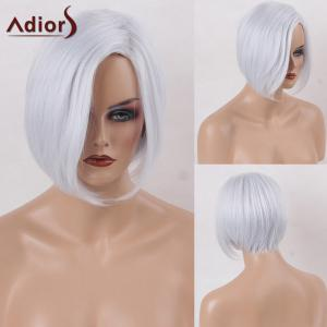 Adiors Side Part Straight Short Bob Synthetic Wig - Grey And White