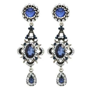 Vintage Faux Sapphire Teardrop Oval Earrings - Blue