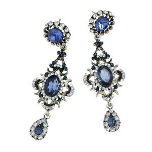Vintage Faux Sapphire Teardrop Oval Earrings -