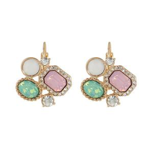Faux Gemstone Rhinestone Geometric Hook Earrings