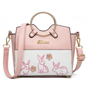 Rabbit Embroidered Metal Ring Handbag - Pink