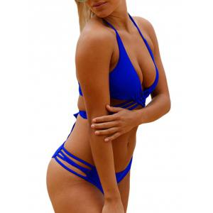 Halter Strappy Cut Out Bikini Set - BLUE M