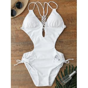 Lace Up Hollow Out One Piece Swimwear - White - Xl