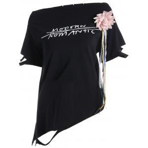 Graphic Asymmetrical Stereo Floral Design Tee - Black - One Size