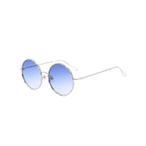 Round Ombre Wavy Metal Frame Leg Sunglasses