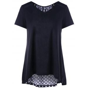 Polka Dot Lace Up High Low T-Shirt -