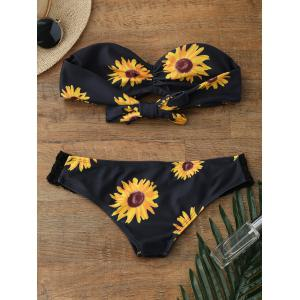 Sunflower Bandeau Padded Strapless Bathing Suit Bikini - BLACK M