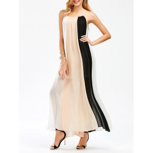 Color Block Flowing Trapeze Maxi Cami Dress