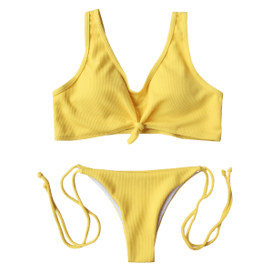 Knotted Ribbed String Bikini -