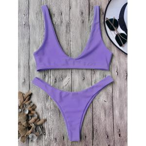 High Cut Scoop Neck Bikini Set
