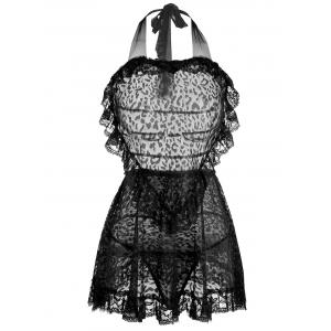 Lace Ruffles Backless Intimate Halter Dress - Black - One Size