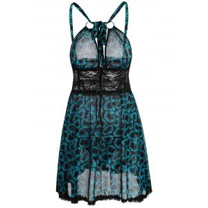Lace Panel Floral Slip Sheer Babydoll - Blue - One Size