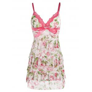 Mesh Floral Tiered Ruffles Slip Babydoll - Pink - One Size