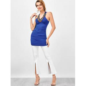 Longline Embellished Ruched Criss Cross Tank Top -
