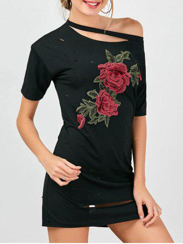 Unique Floral Embroidered Distressed T-Shirt Beach Dress BLACK M