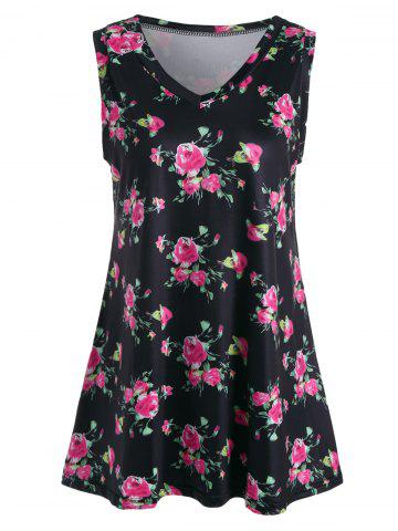 Fancy Floral Print V Neck Longline Top