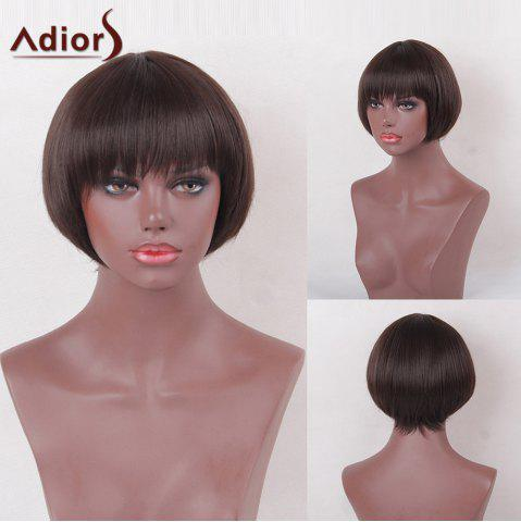 Trendy Adiors Full Bang Short Bob Silky Straight Heat Resistant Synthetic Wig