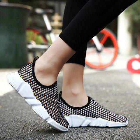 Buy Color Block Breathable Athletic Shoes - Black 39