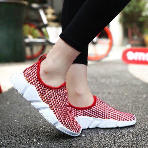Buy Color Block Breathable Athletic Shoes - Red 39