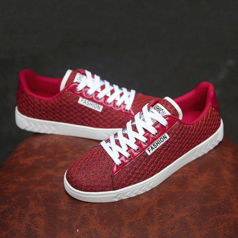 Store Mesh Letter Pattern Casual Shoes - 40 RED Mobile