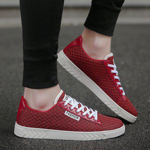 Fancy Mesh Letter Pattern Casual Shoes - 40 RED Mobile