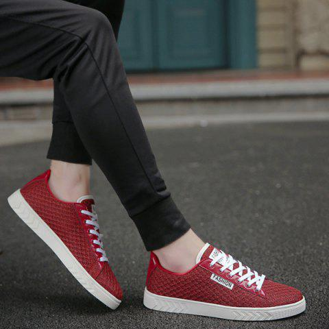 Latest Mesh Letter Pattern Casual Shoes - 40 RED Mobile
