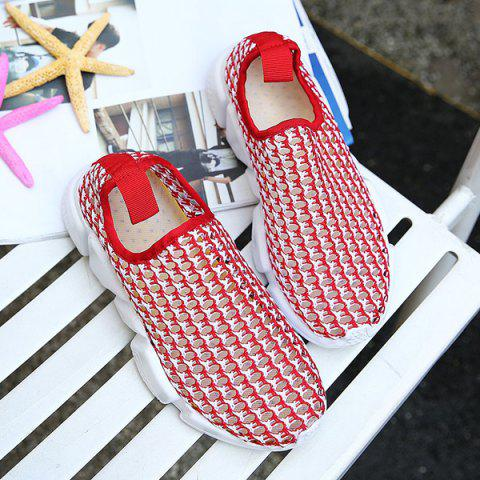 Outfit Breathable Colour Block Casual Shoes - 40 RED Mobile