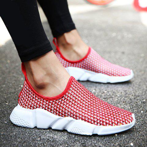 Fashion Breathable Colour Block Casual Shoes - 40 RED Mobile