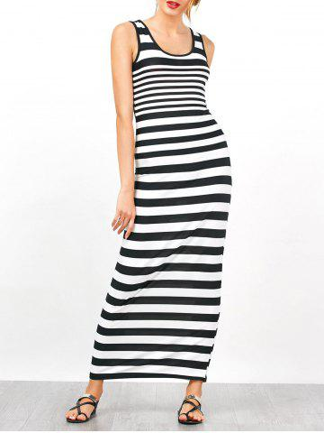 Jersey à rayures sans manches, robe maxi