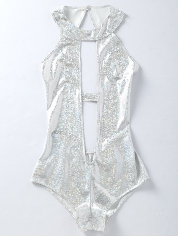 Outfit Backless Plunging One Piece Holographic Fabric Swimsuit SILVER WHITE S