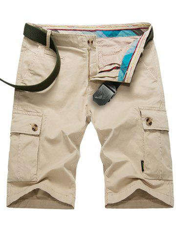 Shops Zipper Fly Button Pockets Cargo Shorts - 38 KHAKI Mobile