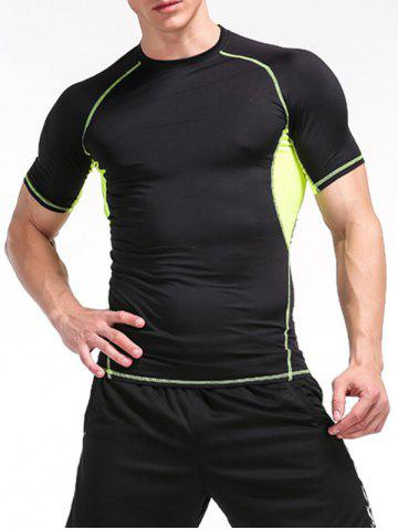 Buy Fitness Color Block Openwork Panel Gym T-Shirt - M BLACK AND GREEN Mobile