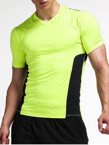 Stretchy Color Block Openwork Panel Fitness T-Shirt - Neon Green - M