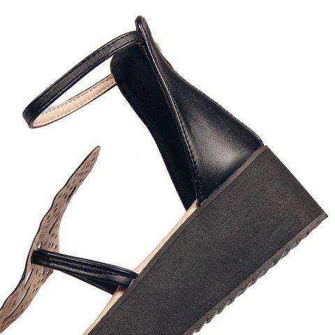 New Ankle Strap Butterfly Pattern Wedge Heels Sandals - BLACK 38 Mobile