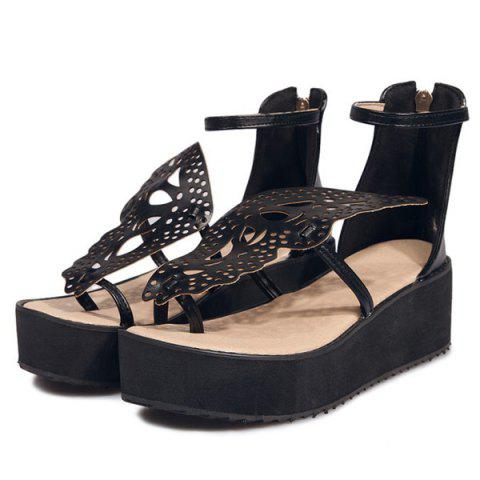 Buy Ankle Strap Butterfly Pattern Wedge Heels Sandals - BLACK 38 Mobile