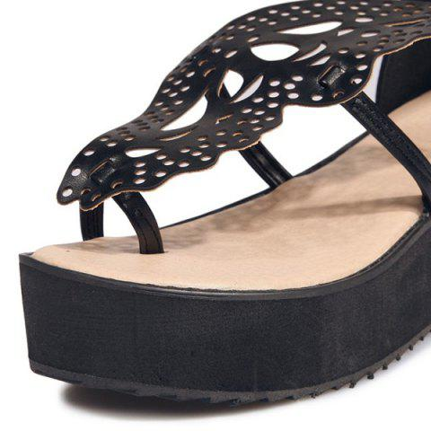 Trendy Ankle Strap Butterfly Pattern Wedge Heels Sandals - BLACK 38 Mobile