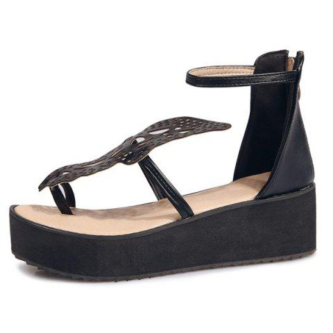 Online Ankle Strap Butterfly Pattern Wedge Heels Sandals - BLACK 38 Mobile
