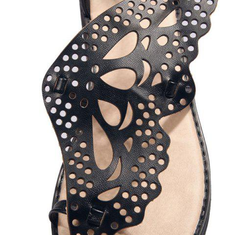 Shops Ankle Strap Butterfly Pattern Wedge Heels Sandals - BLACK 38 Mobile